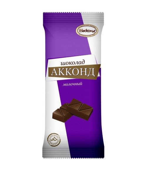 плиточный шоколад молочный АККОНД 90 гр
