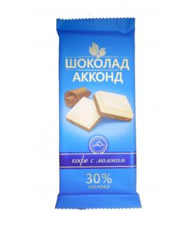 плиточный шоколад кофе с молоком АККОНД 90 гр.