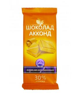 плиточный шоколад карамелизованный АККОНД 90 гр.