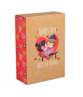 """Подарок """"Тому с кем всегда тепло"""" набор конфет 400 грамм и чая 50 грамм"""