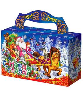 """Новогодний подарок с магнитиком  """"Дед Мороз в санях"""" 300 гр."""