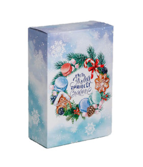 """Новогодний подарок """"С пожеланием счастья"""" ассорти конфеты 500 гр. и чай 50 гр."""